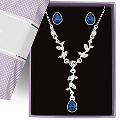 Jon Richard - Blue crystal peardrop necklace and earring set