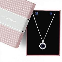 Jon Richard - Blue cubic zirconia floral drop jewellery set