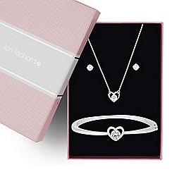 Jon Richard - Cubic zirconia heart trio jewellery set
