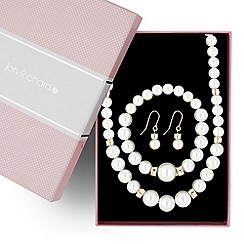 Jon Richard - Cream pearl and two tone disc trio jewellery set