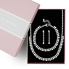 Jon Richard - Diamante crystal and pearl trio jewellery set