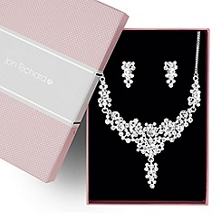 Jon Richard - Round crystal cluster y drop necklace and earring set