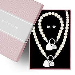 Jon Richard - Great value pearl and polished heart charm trio jewellery set