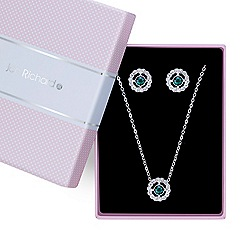 Jon Richard - Green crystal open flower necklace with matching earring set