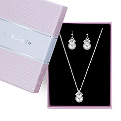 Jon Richard - Pave capped pearl necklace with matching earring