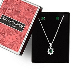 Jon Richard - Green cubic zirconia floral pendant necklace and earring set