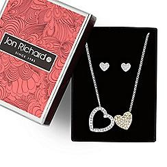 Jon Richard - Double heart pendant necklace and earring set