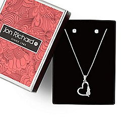 Jon Richard - Silver cubic zirconia open heart necklace and earring set
