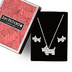 Jon Richard - Silver scotty dog necklace and earring set