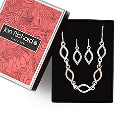 Jon Richard - Two tone crystal pave open navette necklace and earring set