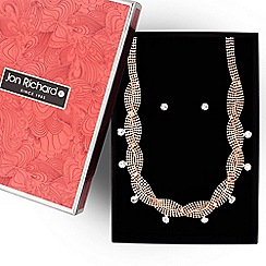 Jon Richard - Rose gold diamante edge wave necklace and earring set