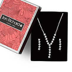 Jon Richard - Silver diamante crystal square necklace and earring set