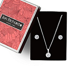 Jon Richard - Cubic zirconia solitaire pendant necklace and earring set