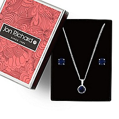 Jon Richard - Blue cubic zirconia solitaire pendant necklace and earring set