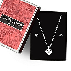 Jon Richard - Silver crystal heart pendant necklace and earring set
