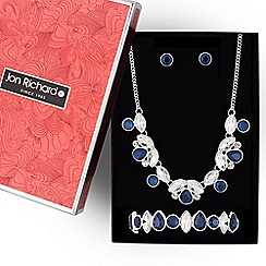 Jon Richard - Silver and blue crystal navette jewellery set