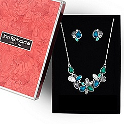 Jon Richard - Multi colour crystal floral necklace and earring set