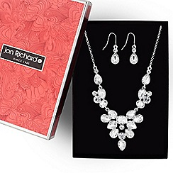 Jon Richard - Silver crystal cluster necklace and earring set