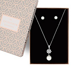 Jon Richard - Silver pearl drop jewellery set