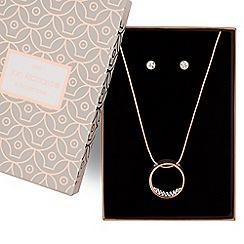 Jon Richard - Rose gold crystal circle necklace and earring set