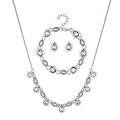 Jon Richard - Pave peardrop jewellery set