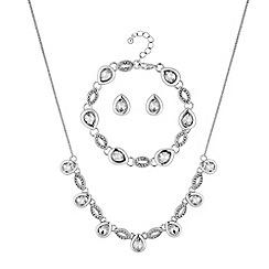 Jon Richard - Pave peardrop jewellery set