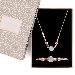 Jon Richard - Rose gold glitter inlay necklace and bracelet set