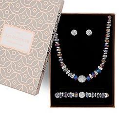 Jon Richard - Tonal purple bead and pave ball jewellery set