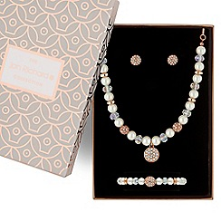 Jon Richard - Rose gold pave ball and pearl jewellery set