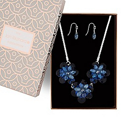 Jon Richard - Blue crystal flower jewellery set