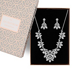 Jon Richard - Silver floral crystal jewellery set