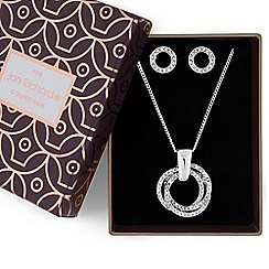 Jon Richard - Silver crystal triple ring necklace and earrings set