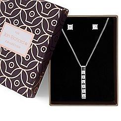 Jon Richard - Silver crystal bar necklace and earrings set