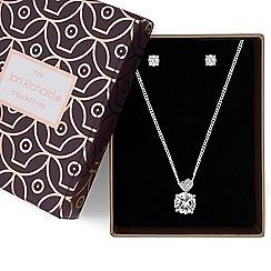 Jon Richard - Silver cubic zirconia heart pendant necklace and earrings