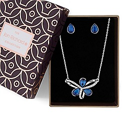 Jon Richard - Blue crystal loop necklace and earrings set