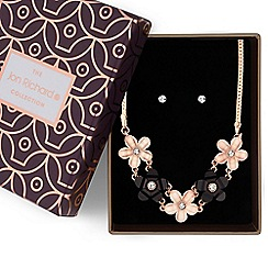Jon Richard - Rose gold monochrome flower necklace and earrings set