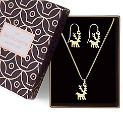 Jon Richard - Gold reindeer necklace and earrings set