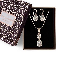 Jon Richard - Rose gold crystal pebble necklace and earrings set