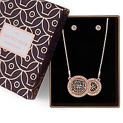 Jon Richard - Rose gold crystal filigree disc necklace and earrings set