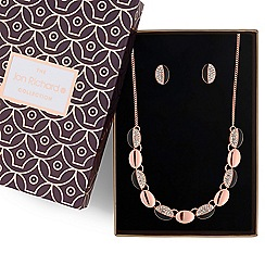 Jon Richard - Rose gold pave link necklace and earrings set