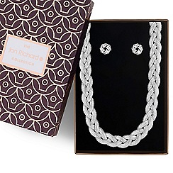 Jon Richard - Silver plaited necklace and earrings set