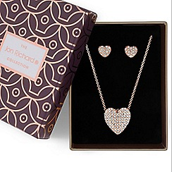 Jon Richard - Crystal pave heart jewellery set in a gift box