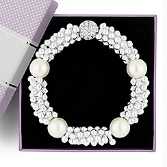 Jon Richard - Pearl and polished multi ball stretch bracelet