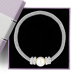 Jon Richard - Pearl and crystal disc silver mesh stretch bracelet