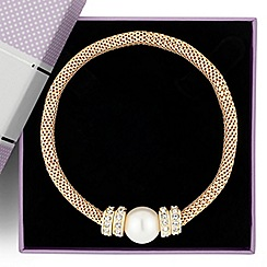 Jon Richard - Pearl and crystal disc gold mesh stretch bracelet