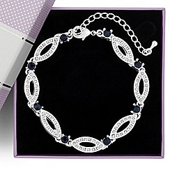 Jon Richard - Blue crystal stone set navette link bracelet