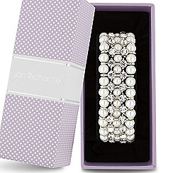 Jon Richard - Pearl and crystal triple row stretch bracelet