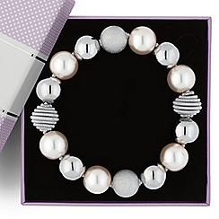 Jon Richard - Pearl and polished ball stretch bracelet