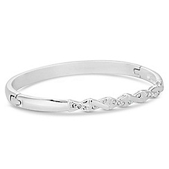 Jon Richard - Silver crystal plait bangle bracelet