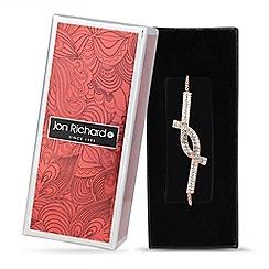 Jon Richard - Rose gold crystal cross over toggle bracelet